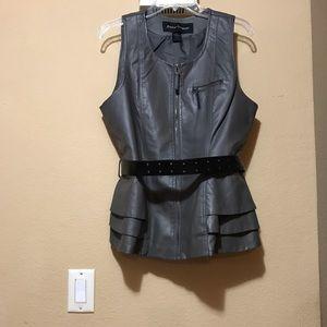 Gray faux leather Ashley Stewart peplum vest/belt